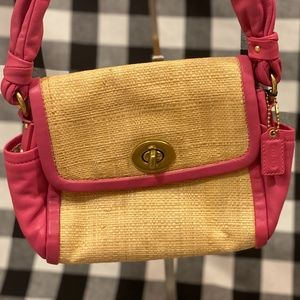 COACH Petite Natural Straw Handbag w Pink Leather